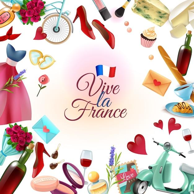 France paris frame background Free Vector