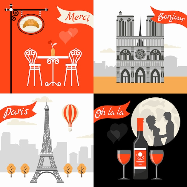 France paris retro style concept Free Vector