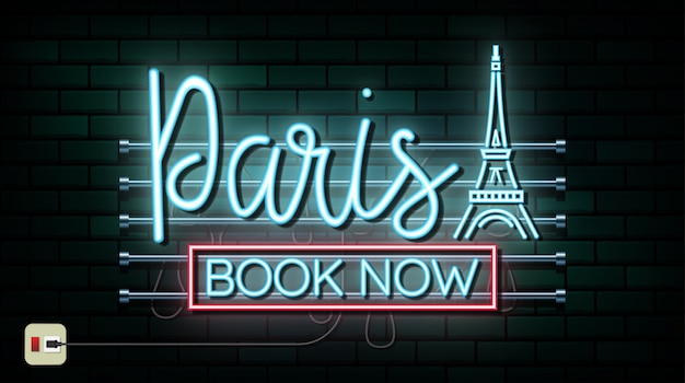 France and paris travel and journey neon light background Premium Vector