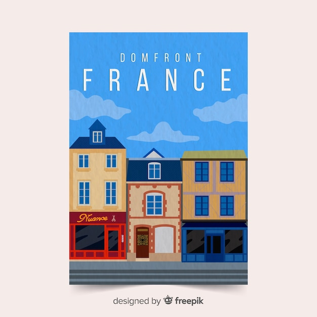 France promotional poster template Free Vector