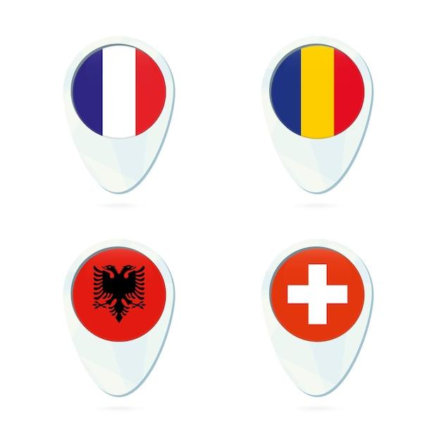 フランス、ルーマニア、アルバニア、スイスの旗のロケーションマップのピンアイコン。 Premiumベクター