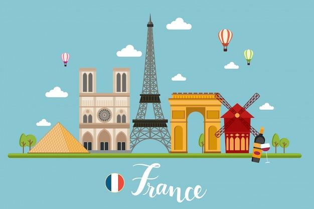 France travel landscapes vector illustration Premium Vector