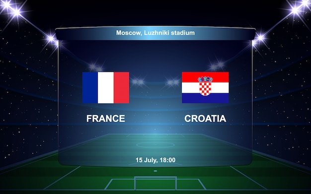 France vs croatia football scoreboard broadcast graphic soccer template Premium Vector