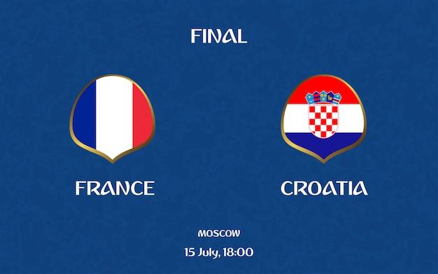 France vs croatia football scoreboard broadcast graphic soccer template Premium Vector
