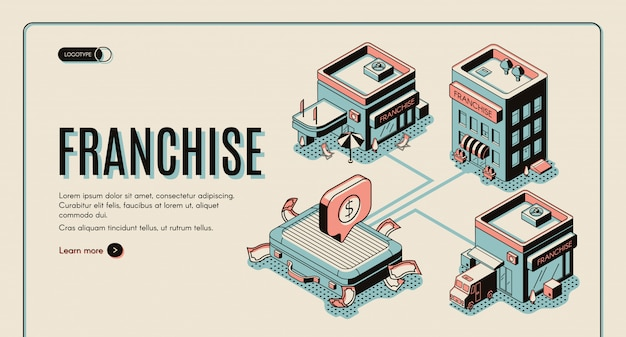 Franchise business start isometric banner on retro colored background. Free Vector