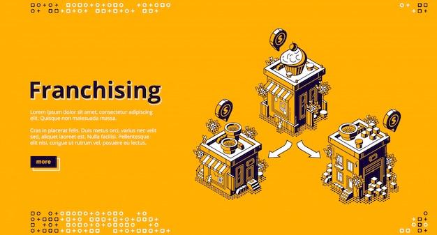 Atterraggio isometrico in franchising, attività in franchising Vettore gratuito