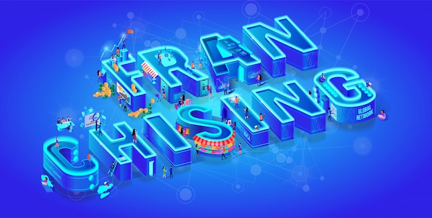 Franchising. vector isometric 3d word. big letters Premium Vector