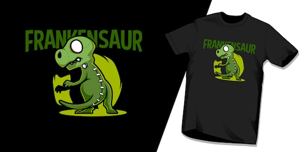 Frankensaur tshirt character design template Premium Vector