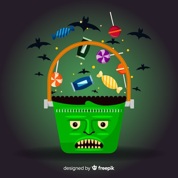 Frankenstein bag filled with candies for halloween Free Vector