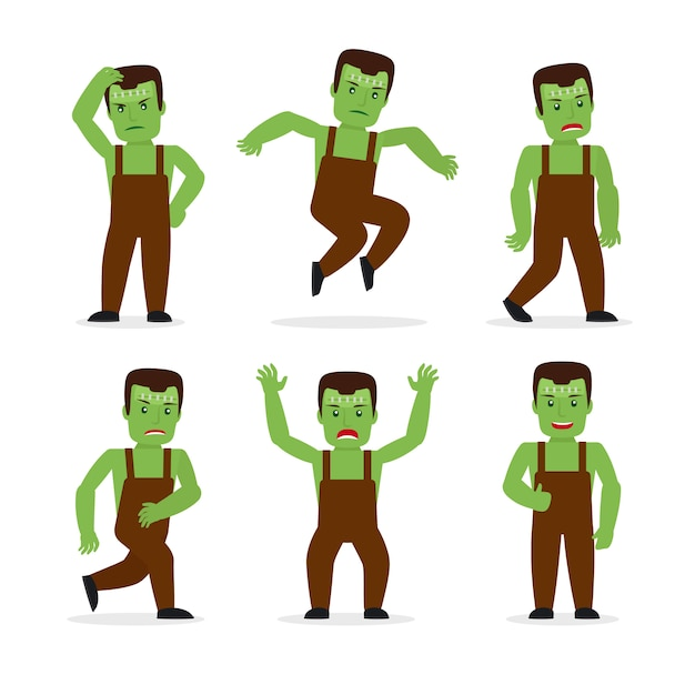 Frankenstein monster in different poses Premium Vector