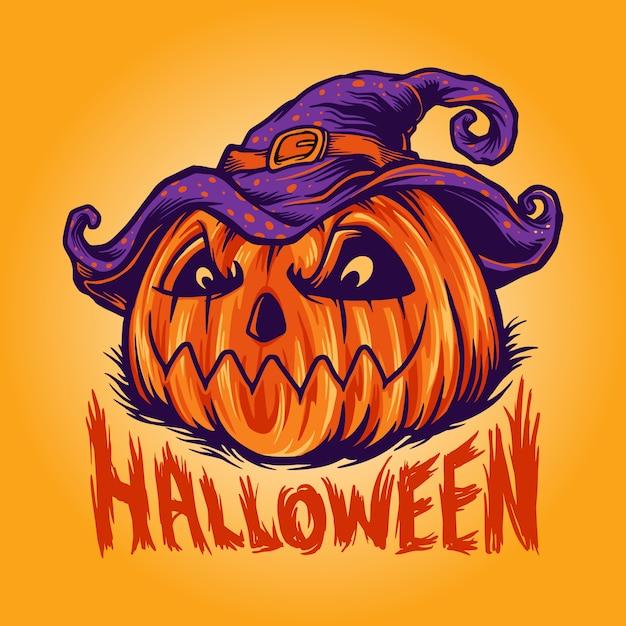 Freaky halloween pumpkin vector illustration Premium Vector