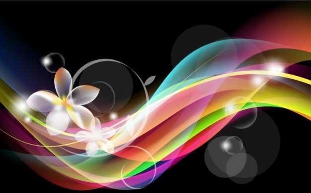 Free abstract waves background with flower vector graphic Vector ...