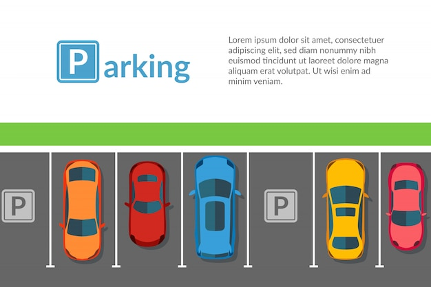 Free car parking lot with different car. top view vehicle illustration in flat style Premium Vector