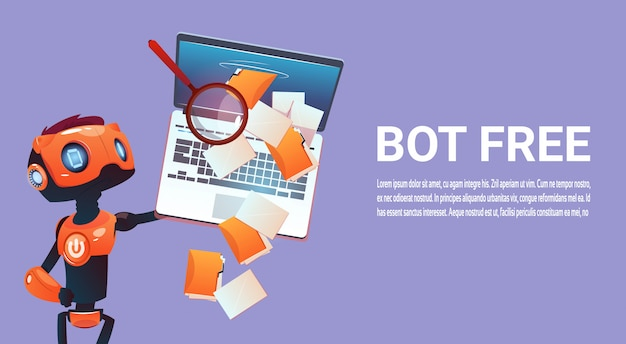 Free chat bot, robot virtual assistance element of website or mobile applications, artificial intell Premium Vector