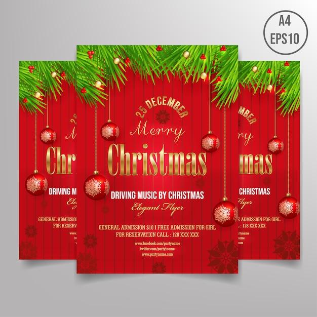Free christmas flyer template Premium Vector