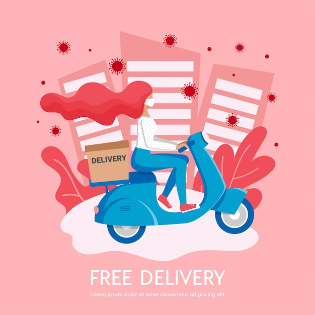 Free city delivery, stop coronavirus stay home banner, 2019-ncov pandemic caution quarantine. girl courier in medical mask delivers box on scooter. non contact shipping service  illustration Premium Vector