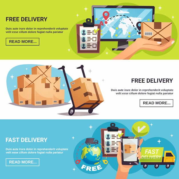 Free delivery 3 horizontal banners Free Vector