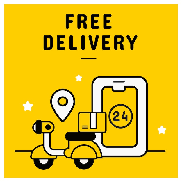 Free delivery banner from online shopping concept Premium Vector