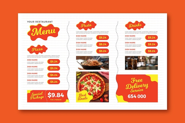 Free delivery digital horizontal restaurant menu template Free Vector