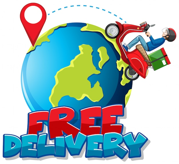 Free delivery logo with bike man or courier riding on the earth Free Vector