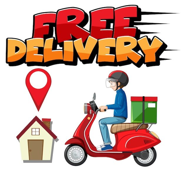 Free delivery logo with bike man or courier Free Vector