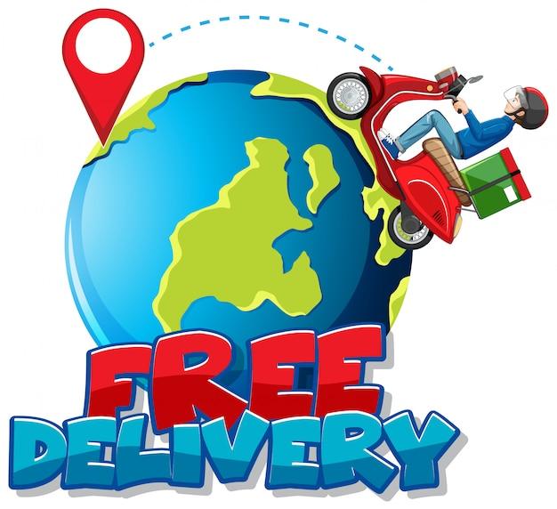 バイクマンまたは地球に乗っている宅配便の無料配達ロゴ 無料ベクター