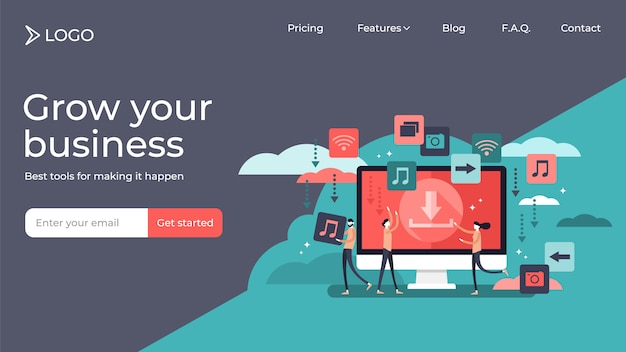 Free download tiny persons vector illustration landing page template design Premium Vector