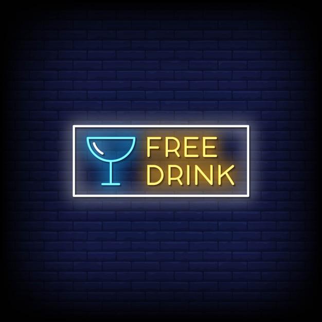 Бесплатный напиток неоновые вывески стиль текст Premium векторы