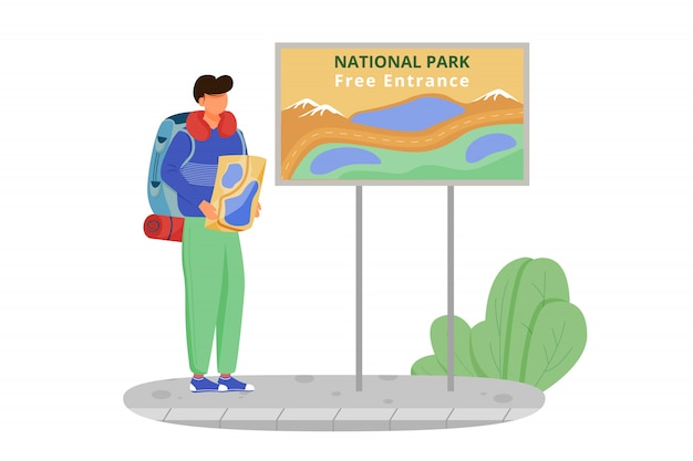 Free entrance to national park   illustration. hiking activity, walking tour. cheap travelling choice. tourist with map. budget tourism  cartoon character on white background Premium Vector