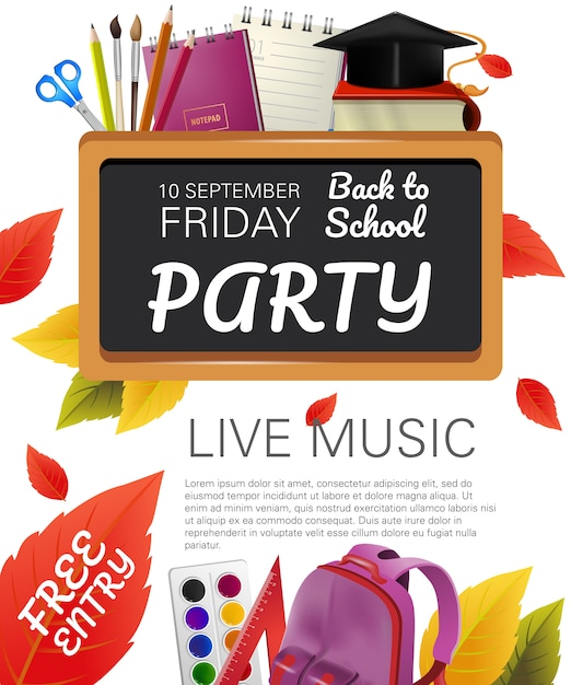 Free entry, back to school party flyer design Free Vector