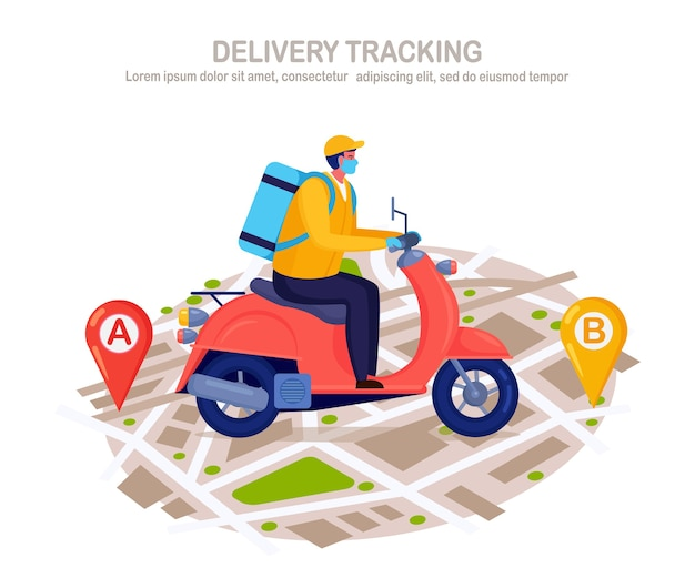 Free fast delivery service by scooter. courier delivers food order. man in a respirator face mask with a parcel travels on a map. prevention of coronovirus, covid-19 Premium Vector