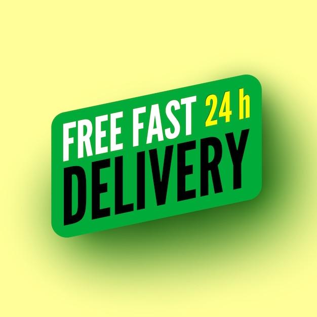 Бесплатная быстрая доставка часов зеленым баннером. иллюстрации. Premium векторы