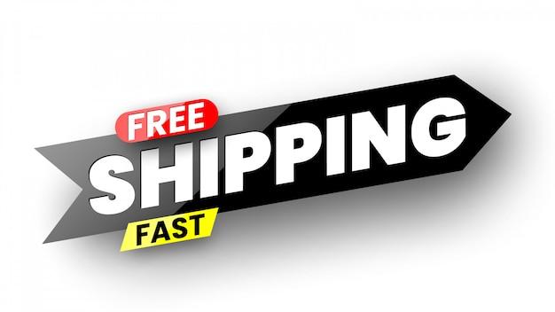 Free fast shipping banner.  illustration. Premium Vector