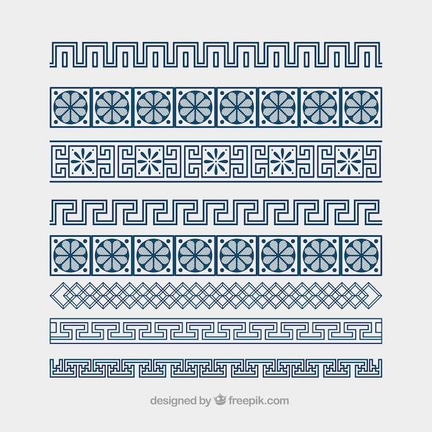 Бесплатный греческой границы орнамент вектор меандр Premium векторы