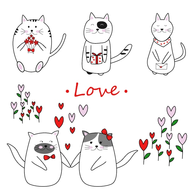 Free hand draw lovely cat in love on valentine day Premium Vector