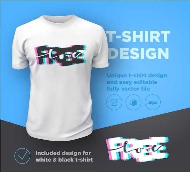 Free love. quote typographical print  template for t-shirt. Premium Vector