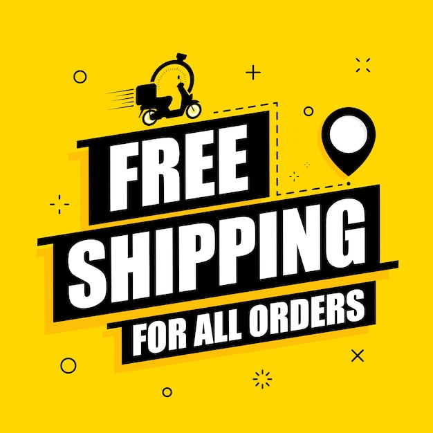 Free shipping on all orders text banner Premium Vector