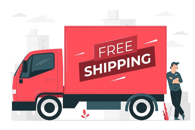 Free shipping concept illustration Free Vector