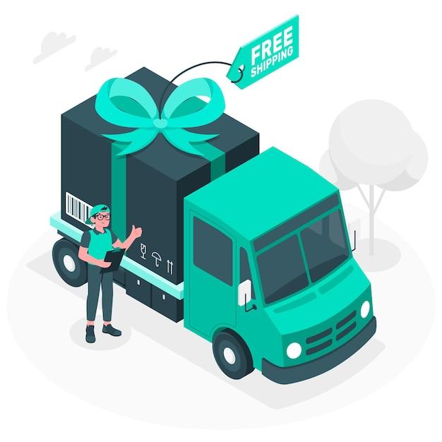 Иллюстрация концепции бесплатной доставки Бесплатные векторы