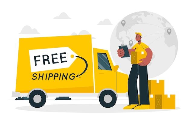 무료 배송 컨셉 일러스트 무료 벡터