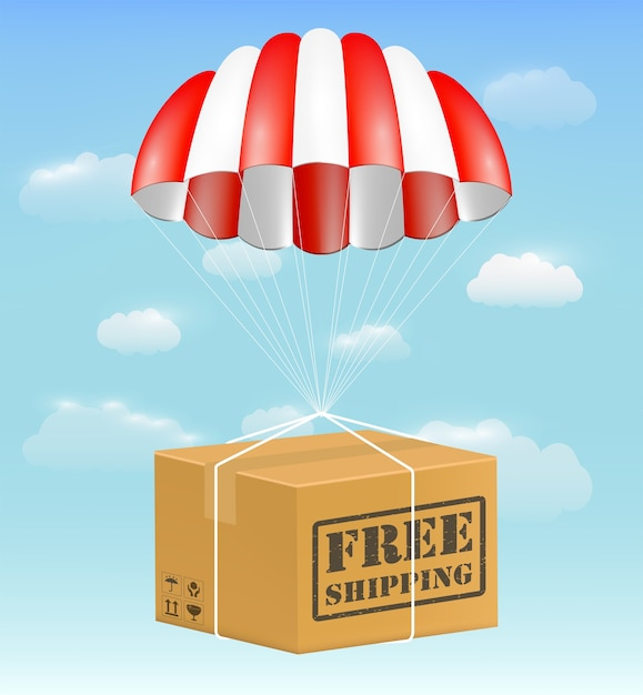 Free shipping package carton box with parachute Premium Vector