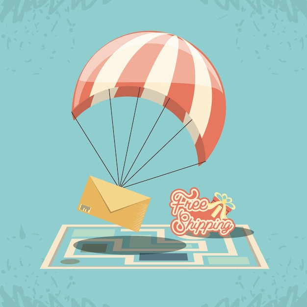 Free shipping service with parachute icon vector ilustration Premium Vector
