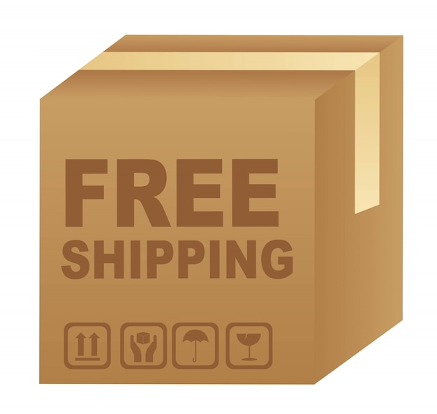 Free shipping text over cardboard box Premium Vector