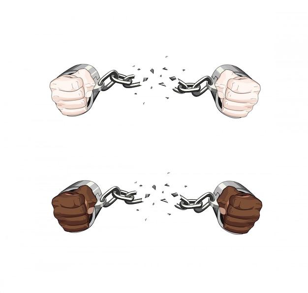 Свободная рабская сломанная цепь наручников. белые и африканские руки. графическая иллюстрация Premium векторы