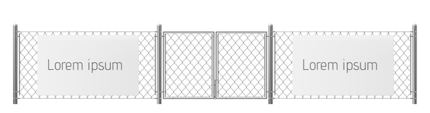 Free space, good place for visual outdoor advertisement realistic vector. white, blank billboard or placard on chain-link fence with metallic pillars and gate illustration. security warning Free Vector