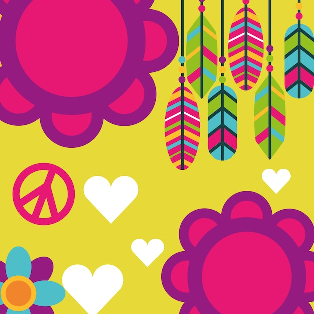 Free spirit flowers feathers love hearts boho retro Premium Vector