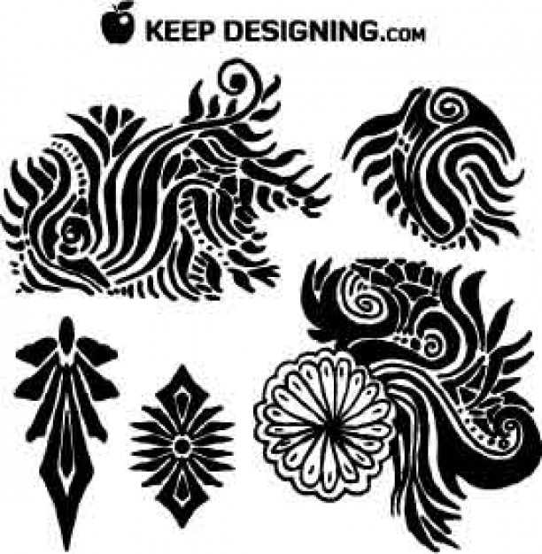 free vector art | clip art graphics | tribal floral vectors vector