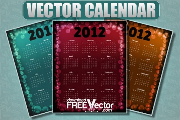 Free Vector Calendar for 2012