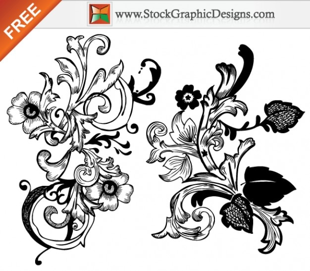 Free Vector Hand Drawn Floral Design Elements Vector | Free Download