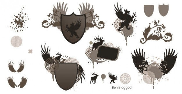 Free Vector Heraldic Shield with Wings Free Vector